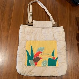Vintage Cotton Quilted Toucan Bag